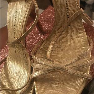 Giuseppe  gold embossed kitten heel sandel